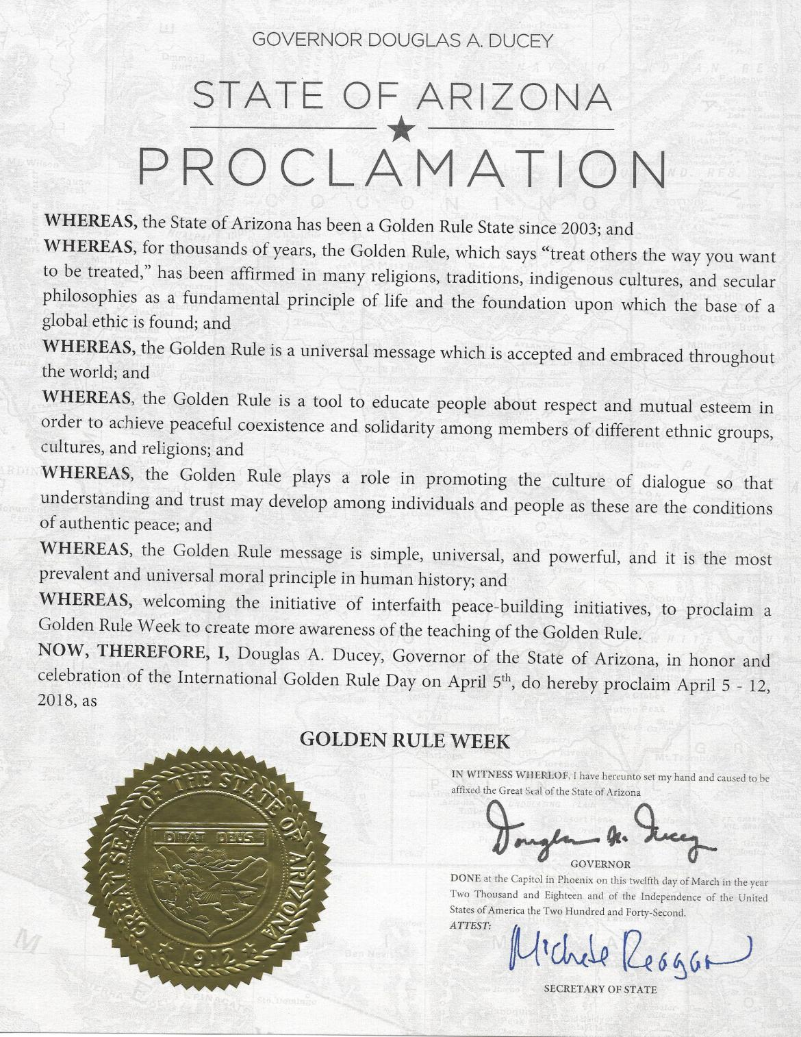 Governor Ducey's Proclamation GOLDEN RULE DAY