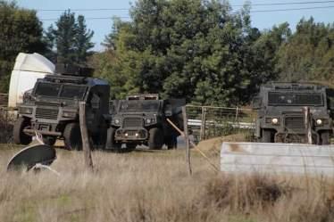 Contingente policial en la comunidad mapuche We Newen