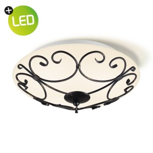 Home sweet home LED plafondlamp Curl Ø 30 cm - bruinzwart/wit