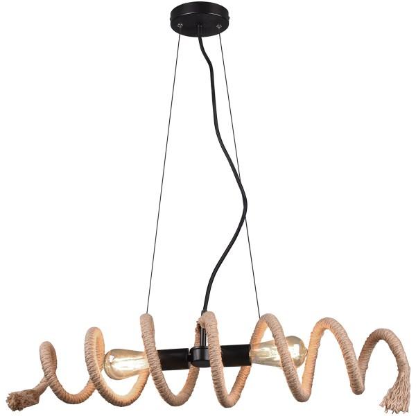 LED Hanglamp - Trion Arana - E27 Fitting - Rechthoek - Mat Zwart - Aluminium