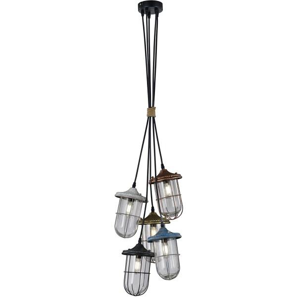 LED Hanglamp - Trion Brinity - E14 Fitting - 5-lichts - Rond - Meerkleurig - Aluminium