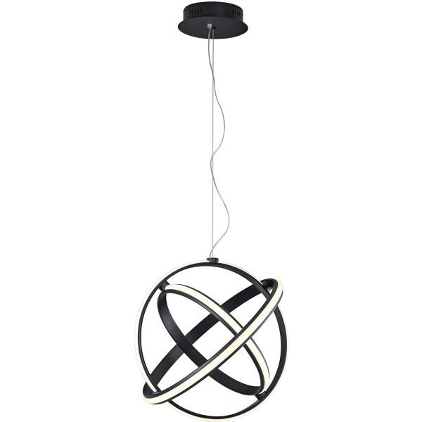 LED Hanglamp - Trion Compito - 45W - Warm Wit 3000K - Dimbaar - Rond - Mat Zwart - Aluminium