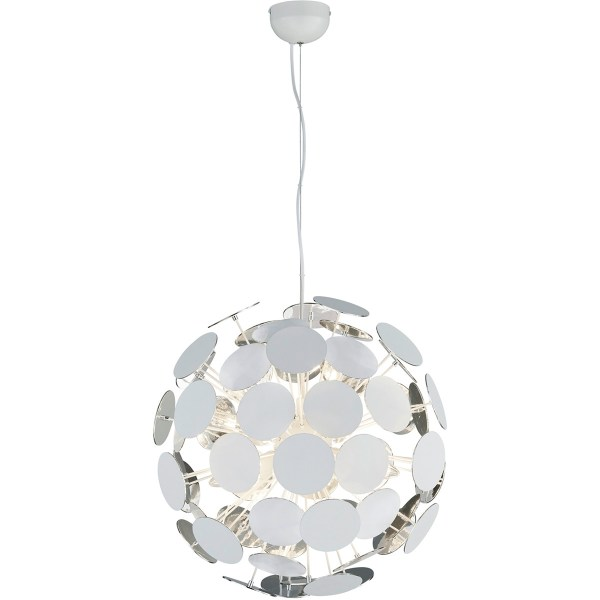 LED Hanglamp - Trion Discon - E14 Fitting - 6-lichts - Rond - Mat Wit Aluminium