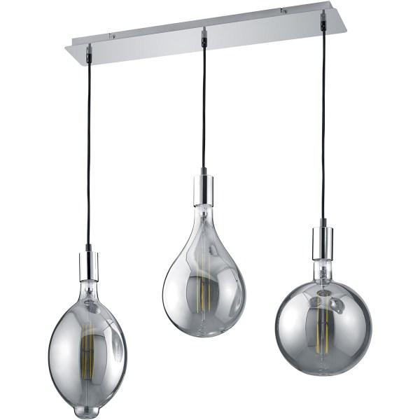 LED Hanglamp - Trion Glinsty - 24W - Warm Wit 2700K - Dimbaar - E27 Fitting - 3-lichts - Rechthoek - Mat Chroom - Aluminium