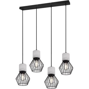 LED Hanglamp - Trion Jamo - E27 Fitting - 4-lichts - Rond - Mat Zwart - Aluminium