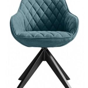 RV Design Arvid Eetkamestoel Stof Blauw met zwarte poten