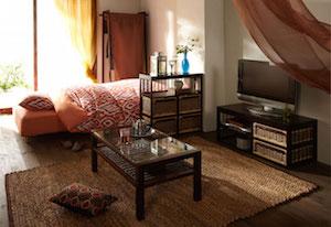 一人暮らしのアジアンテイストの部屋1