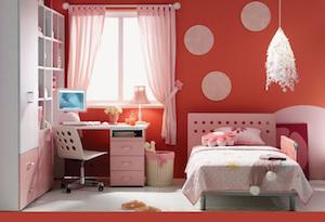 ピンク色のカーテン