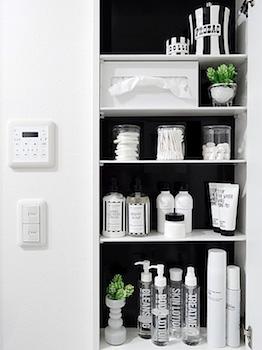 洗面所の収納スペース!中までおしゃれな画像