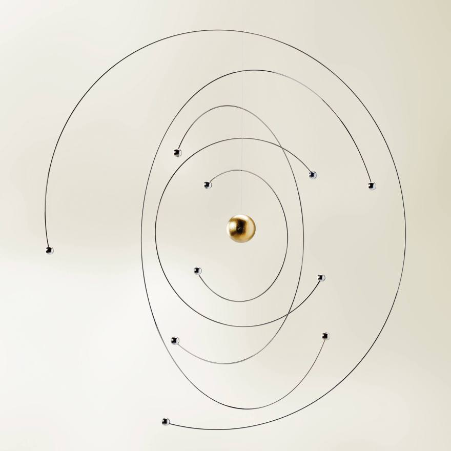 Magnificent Scientific Mobiles – Niels Bohr Atom Model and Science Fiction Ellipse Mobiles by Flensted Mobile
