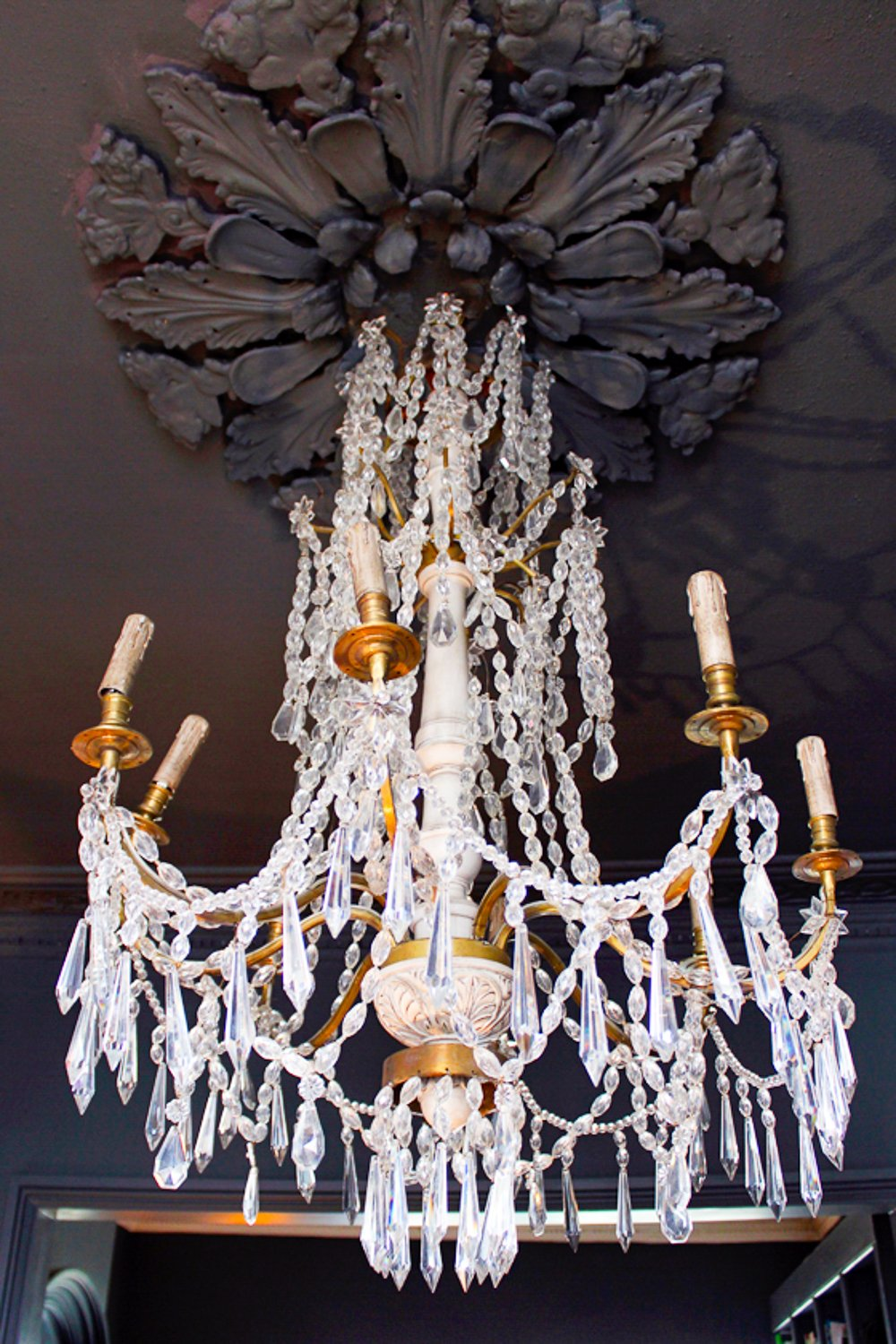 Chandelier dark ceiling