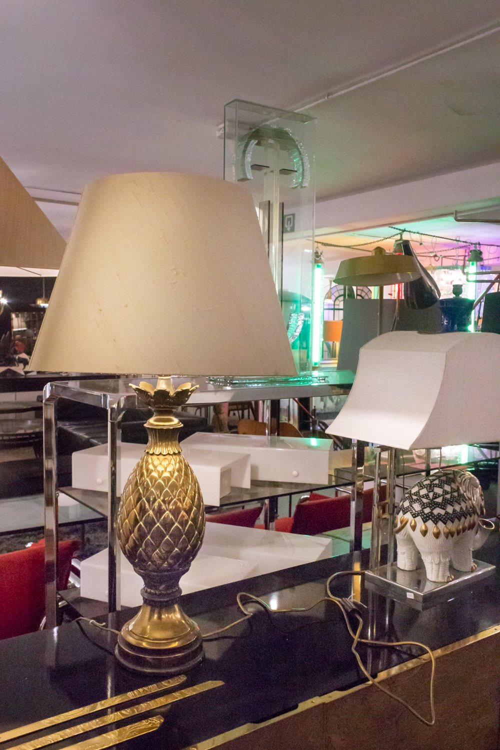 Brass Pineapple Lamps at Via Antica Brussels