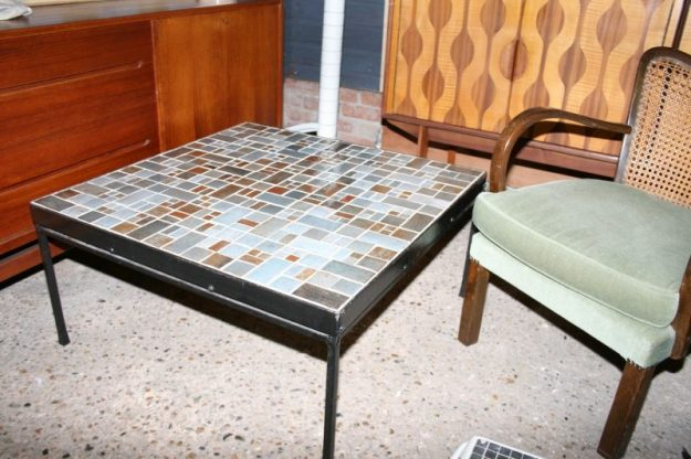 french mid-century mosaic tile top coffee table | interior boutiques