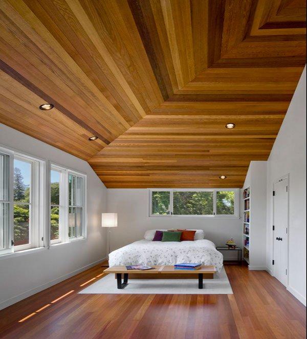 Desain langit-langit kamar tidur, gaya natural