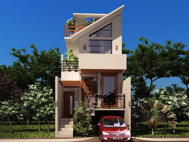Front Elevation With Stilt Parking : Desain rumah minimalis lantai modern