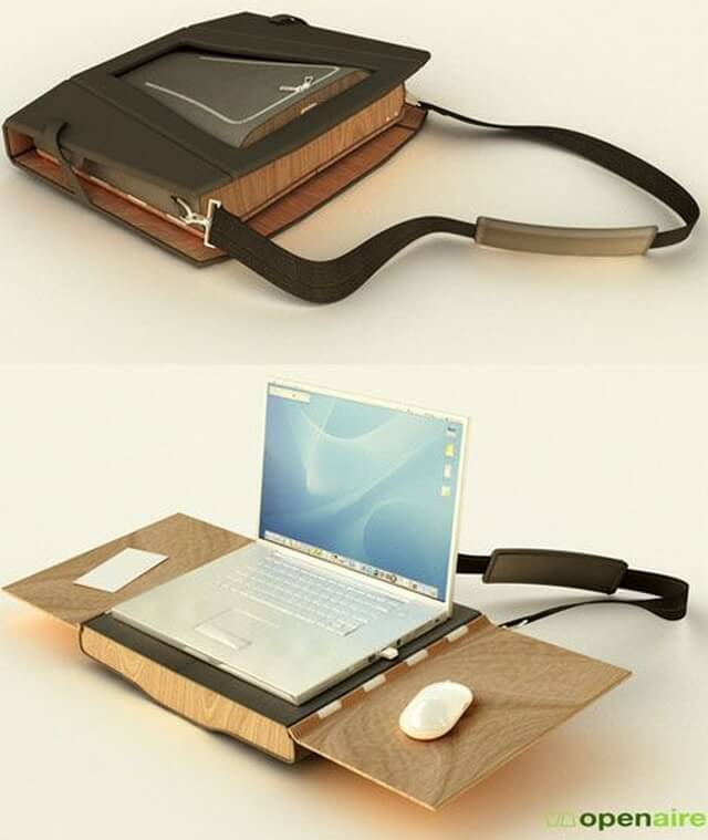 desain meja laptop bentuk tas