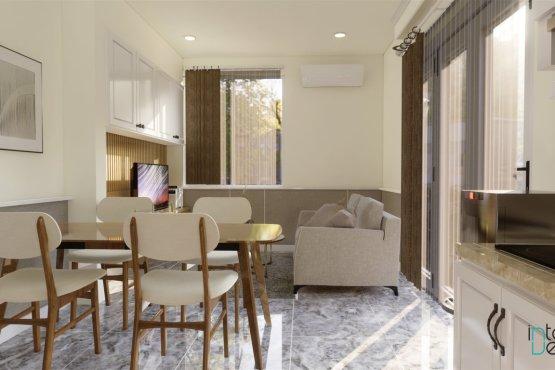 desain ruang keluarga dan ruang makan gaya klasik modern