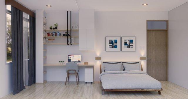 Interior Kamar anak modern menggunakan cat warna minimalis