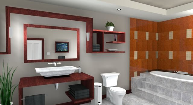 Interior lantai keramik kamar mandi modern minimalis