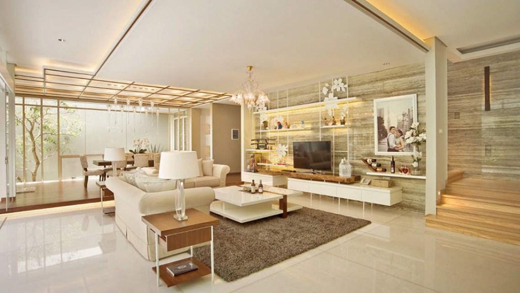 Desain interior ruang keluarga dan ruang tamu tanpa sekat