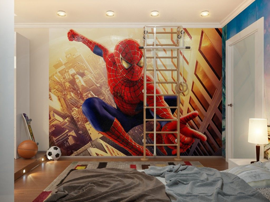 Desain kamar tidur anak tema spiderman