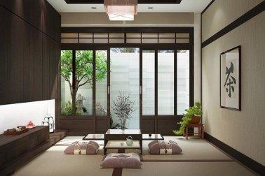 ruang tamu lesehan ala Jepang
