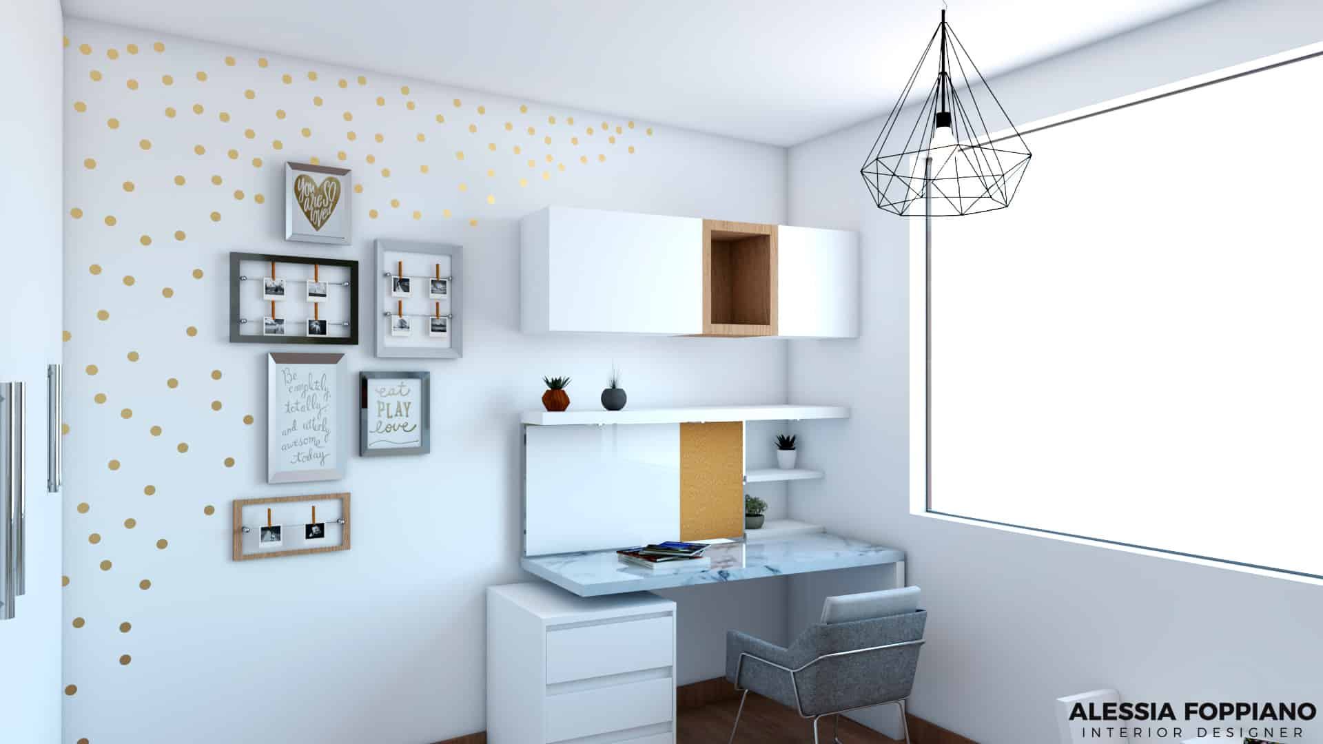 The project was for a teen girl. Her goal was a clean bedroom with a desk  for her homework with a window next to it for natural light and a bed with  ...