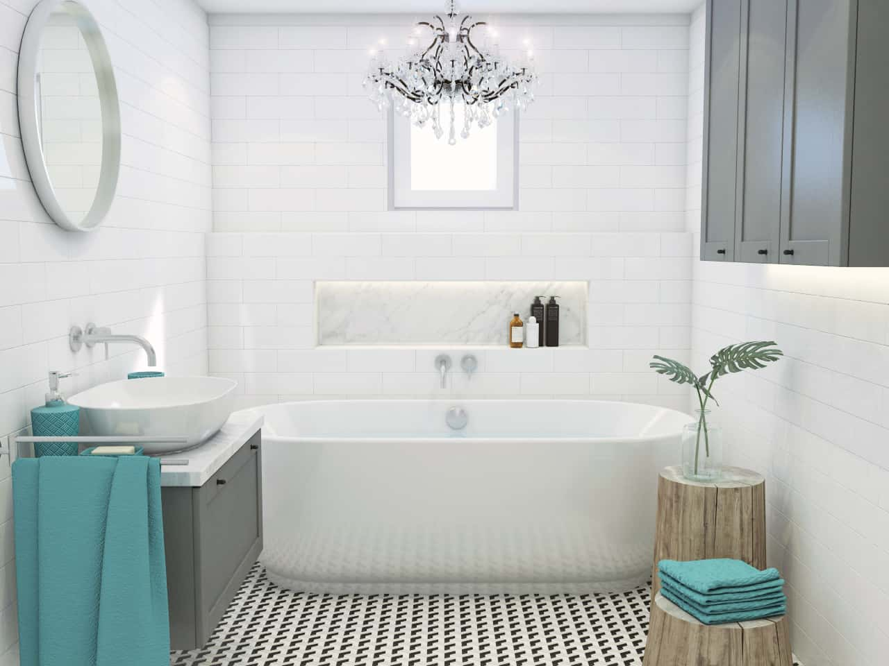 Bathroom in a vintage and glamour style