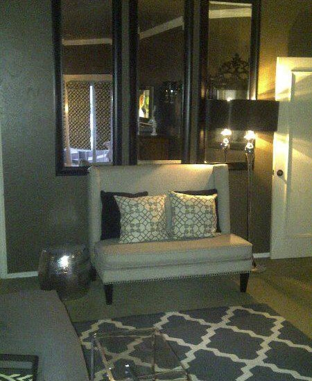Small Seating Unit in Grey Color of Interior Design Edmond OK Equipped with Standing Lamp Design Idea in Black Lampshade