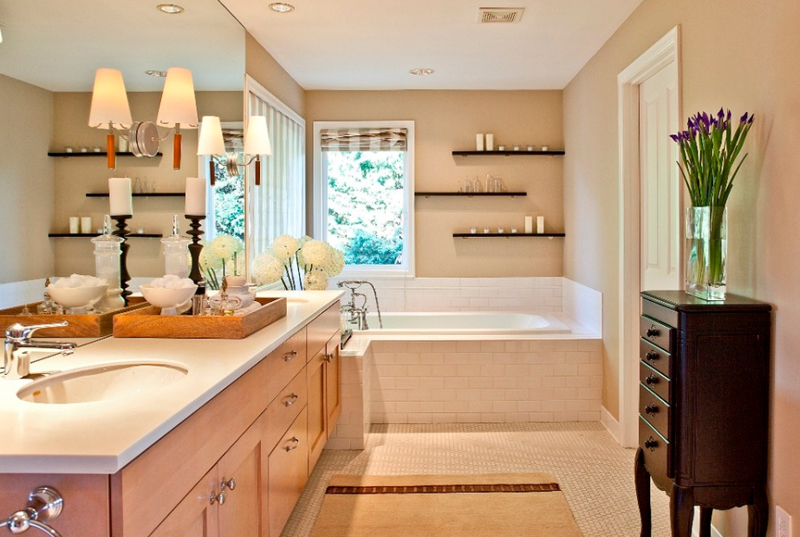 Awesome Wooden Shelves Designs For Bathroom