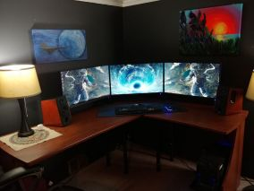 After Six Months Of Rearranging Adding And Ta ☼ Via Reddit #Gaming Room Setup #Quarto Gamer #Playstation Room #xbox Room