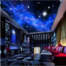 D Blue Night Sky Stars Wall Or Ceiling Wallpaper ☼ Via Beddingandbeyond #Ps4 Gaming Setup #Dream Rooms #Gaming Setup Xbox