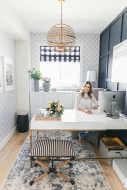 Bright Navy And Blush Home Office Urban Walls - Arrowandlaceblog.com