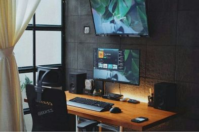 DIY Computer Desk Ideas For Home Office ☼ Via Interioropedia #Ps4 Gaming Setup #Dream Rooms #Gaming Setup Xbox