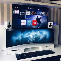 Deskvibes Peoplescreative Homeoffice Works ☼ Via Instagram #Gaming Room Setup #Quarto Gamer #Playstation Room #xbox Room