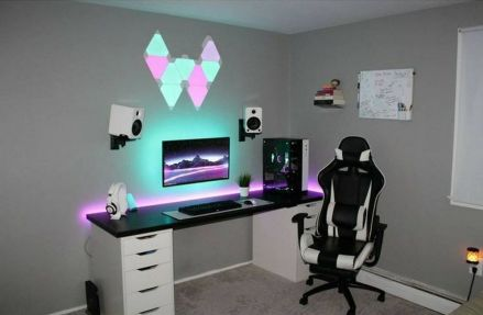 Gaming Room Setup - ☼ Via Diygamerr.maxpw #Gaming Room Setup #Quarto Gamer #Playstation Room #xbox Room