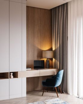 Restful Interior With Blue Brass Accents Run - Home-designing.com