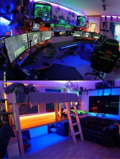 The Best Gaming Setup For Amazing Rooms ☼ Via Hoomdecoration #Gaming Room Setup #Quarto Gamer #Playstation Room #xbox Room