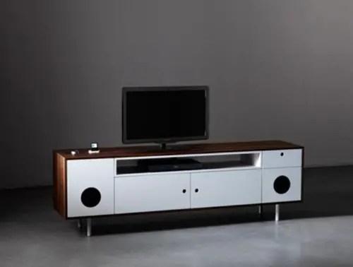 Mueble para TV con bocinas incluidas y diseño retro