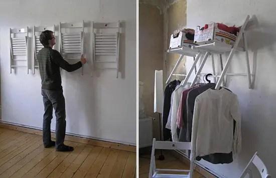 Convirtiendo unas sillas en todo un closet con repisas