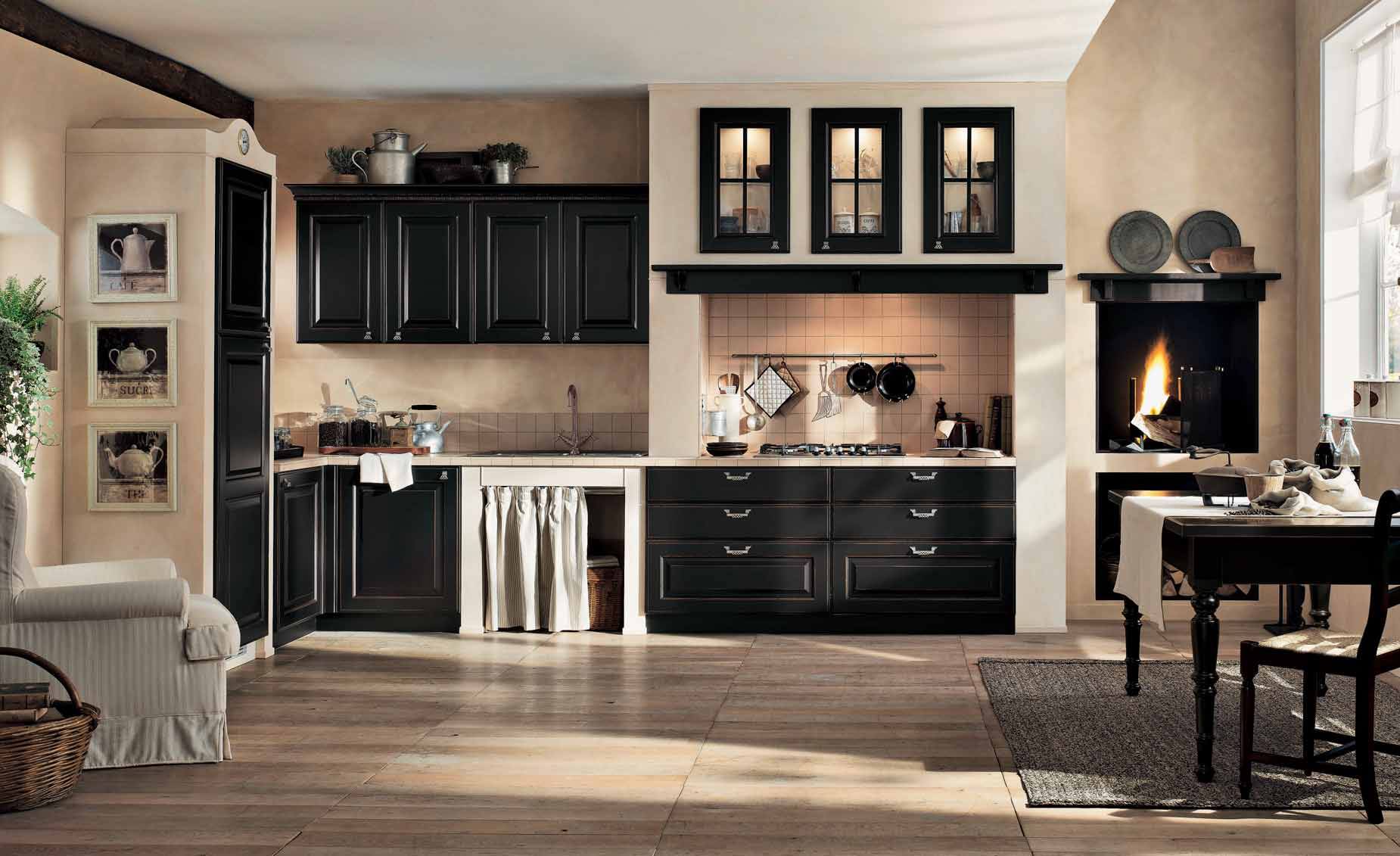 Classic Kitchen In Black And