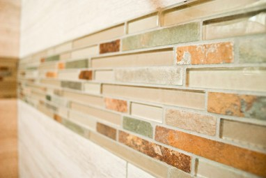 Glass and stone mosaic accent
