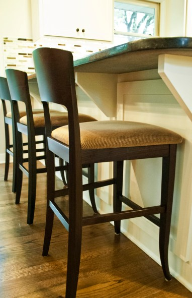 After: Existing stools feel at home with the makeover