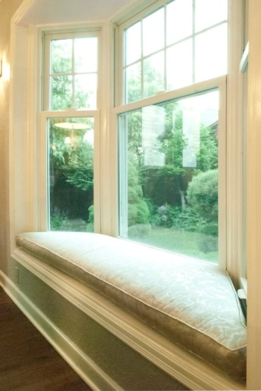 Neutral upholstery on the window seat