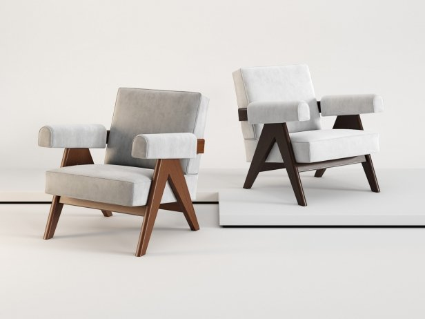 Armchairs 053 Capitol Complex, designed by Pierre Jeanneret, Cassina.