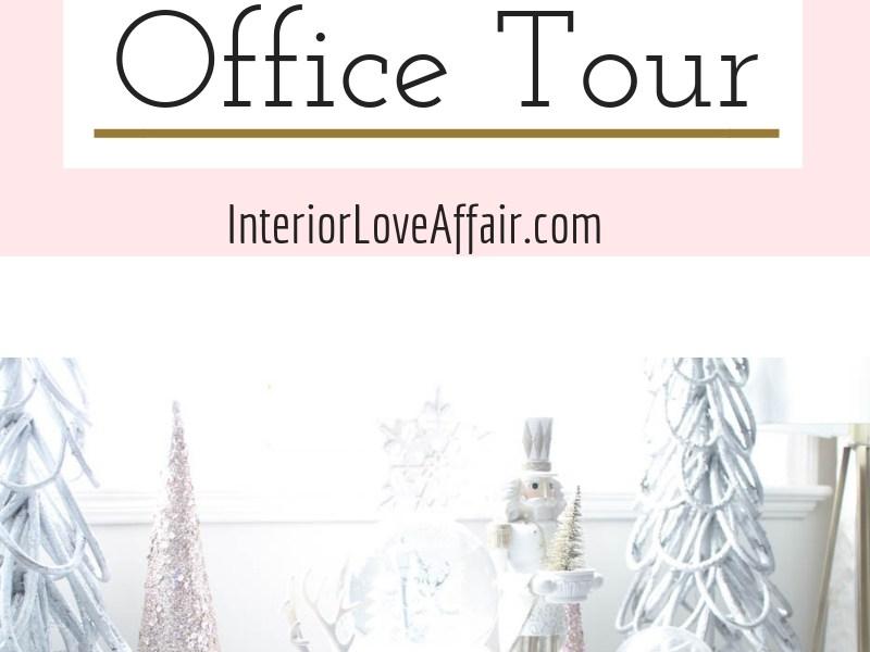blush white gold christmas decor, office decor
