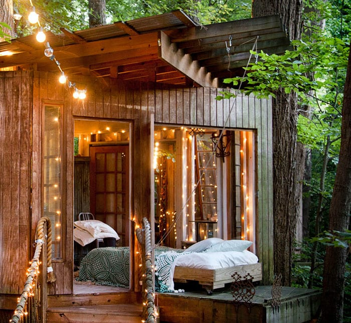woman cave treehouse she shed