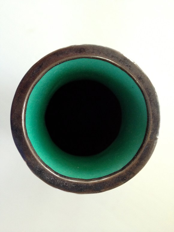 Green Vase - Top View, Metal Rim