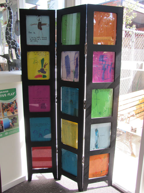 Divider Screen with Kids Art