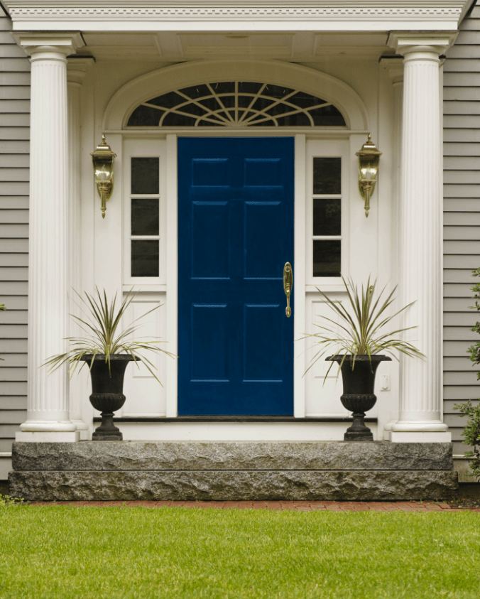 Front Door with Sherwin-Williams Dignified 6538 & A Warm Welcome u2013 Interiors for Families